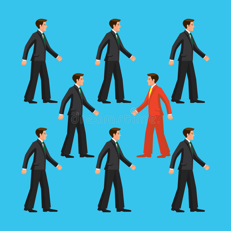 Against the flow, the man is going against common flow. The man is going against common flow, colorful vector flat illustration vector illustration