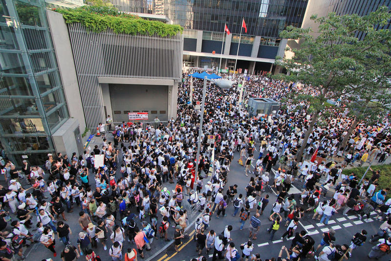 Against National Education in Hong Kong. 29 July, 2012: Parents against the introducing a Moral and National Education subject in Hong Kong stock photos