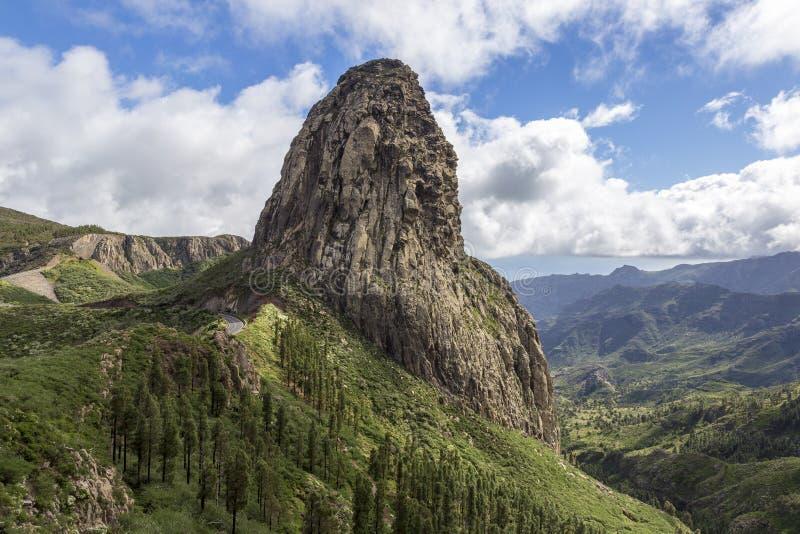 Agando rock. Los roques in Garajonay national park at La Gomera. Canary Islands. Spain royalty free stock photo