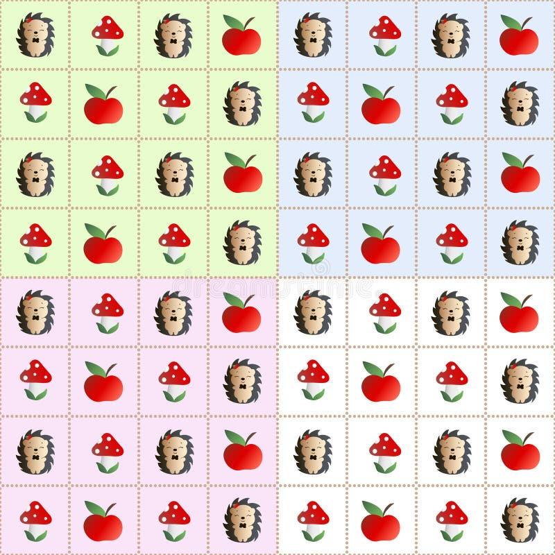 Agaric, hérisson et pomme de mouche de modèle illustration stock
