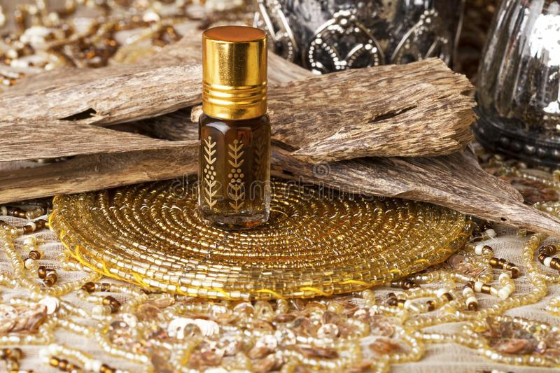 Agarwood essential oil royalty free stock image