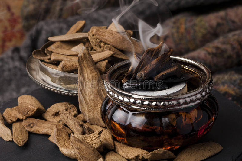 Agarwood incense stock photo