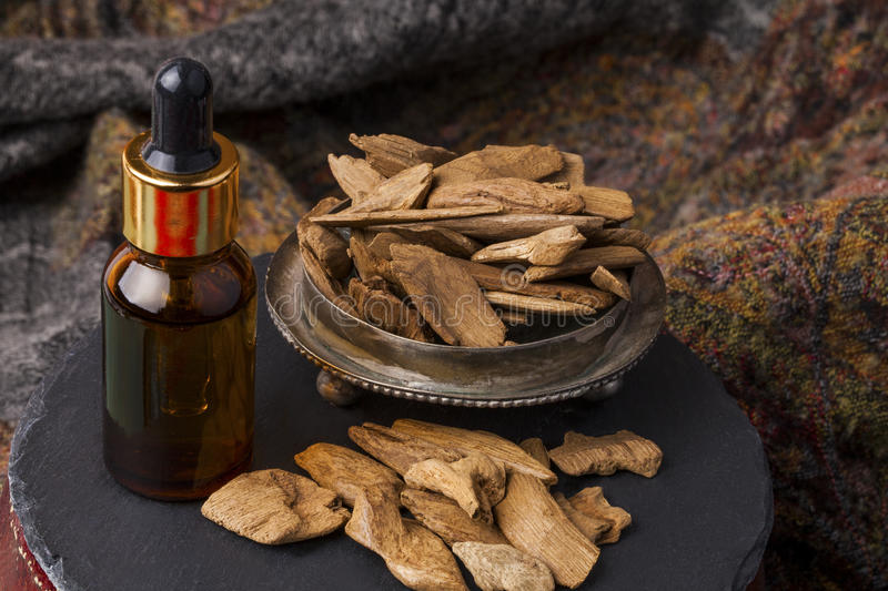 Agarwood incense. Agarwood, also called aloeswood, oil and incense chips royalty free stock images