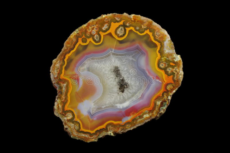 Agate. Cut and polished agate with geode. Origin: Morocco, Aquim. Andrzej Kuzma collection stock image