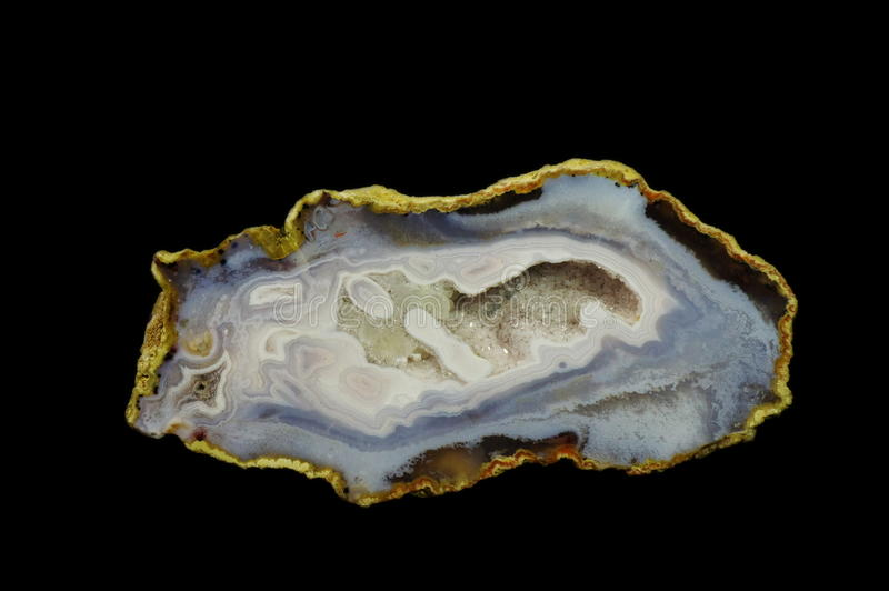 Agate. Cut and polished agate with geode. Origin: Morocco, Asni. Andrzej Kuzma collection royalty free stock photo