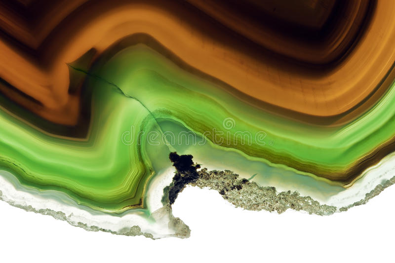 Agate. A Close-up of Slice of an Agate Gemstone Texture stock image