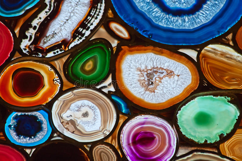 Agate. Translucent mosaic made with slices of agate stone royalty free stock photos