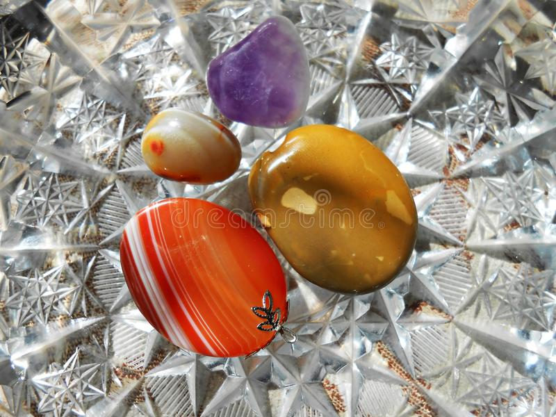 Agate and amethyst. Semiprecious stones royalty free stock images