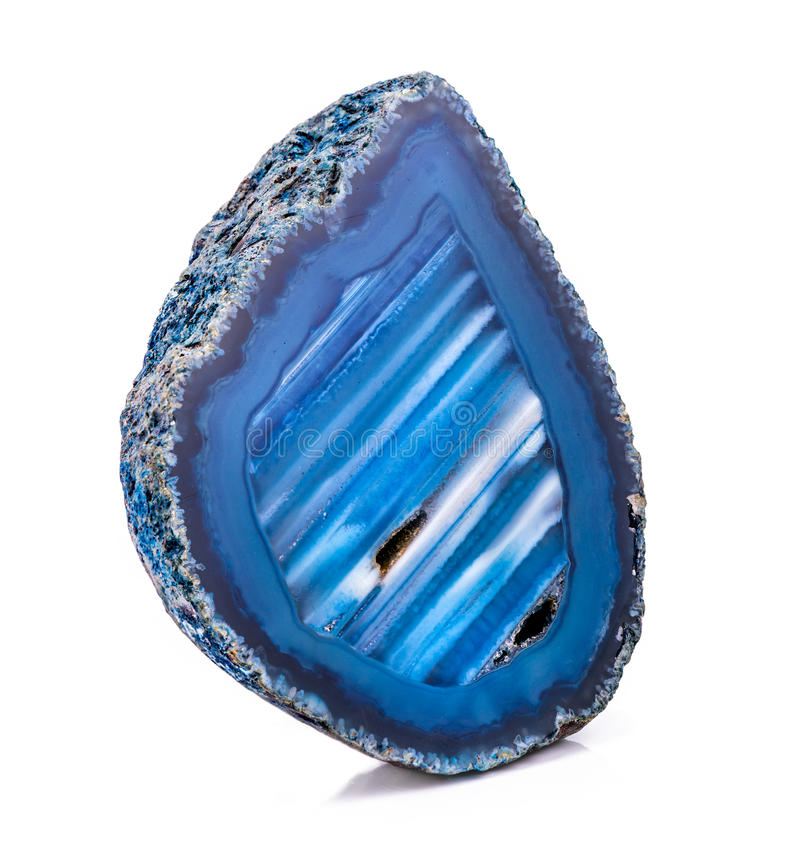 Agate crystal geode. Piece of agate crystal on white royalty free stock photography