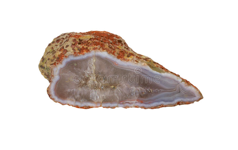 Agate - isolated. Refined agate with a beautiful pattern - isolated royalty free stock images