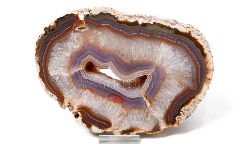 Agate purple and white stock image