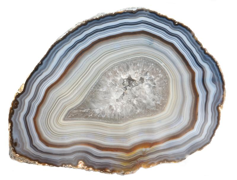 Agate and Quartz geode. A banded Agate specimen with a geode of Quartz crystals royalty free stock photo