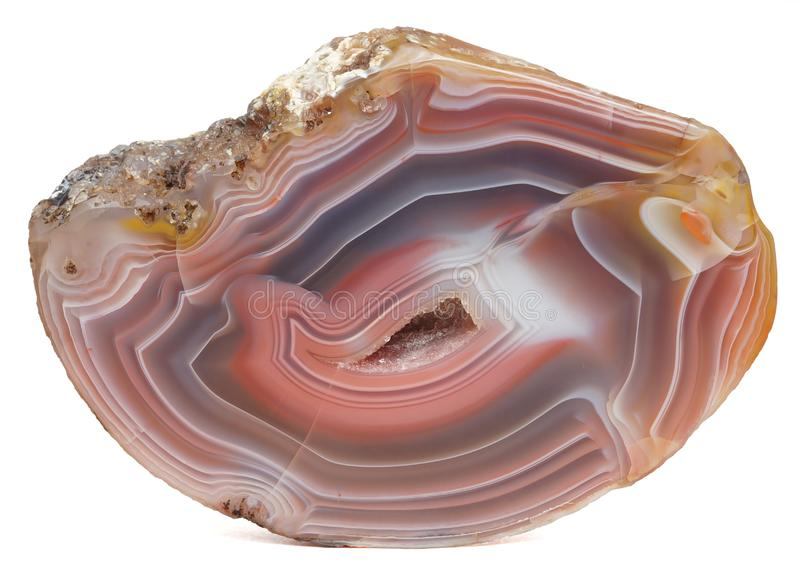 Agate specimen. Polished specimen of agate, a variety of chalcedony, isolated on a white background royalty free stock photography