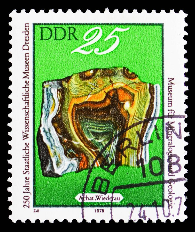 Agate, 250 Years State Scientific Museum in Dresden serie, circa 1978. MOSCOW, RUSSIA - SEPTEMBER 15, 2018: A stamp printed in DDR (Germany) shows Agate, 250 royalty free stock photo