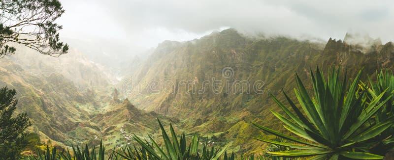 Agava植物和落矶山脉在Xoxo谷在圣安唐岛海岛,佛得角 全景射击 库存图片