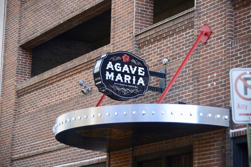 Agave Maria Mexican Eatery Sign Downtown Memphis, Tennessee imagens de stock