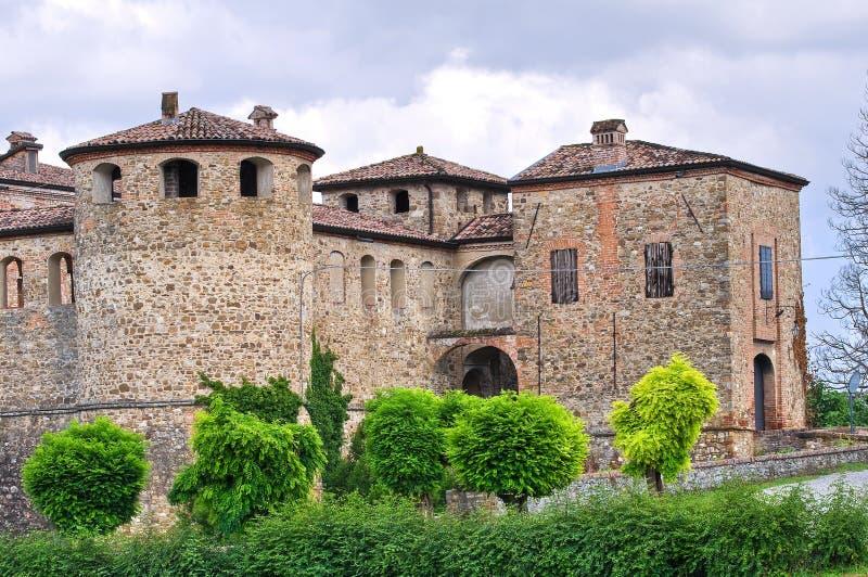 agazzano城堡一点红・意大利romagna 库存照片