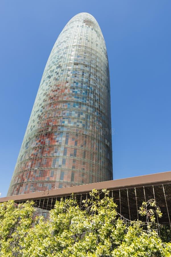 Agbar塔,巴塞罗那,西班牙 免版税库存图片