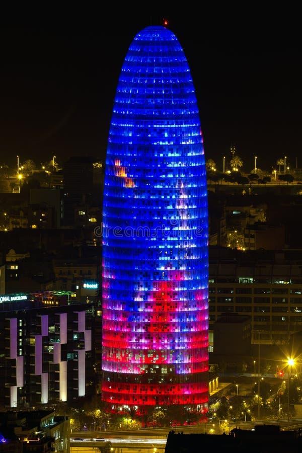 agbar здание barcelona обнаружило местонахождение башню стоковые фото