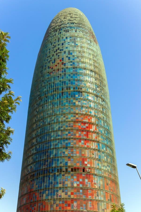 Agbar Torre ist ein Wolkenkratzerturm mit 38 Geschichten in Barcelona Catalon stockfoto