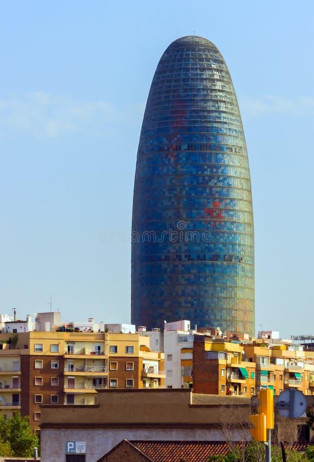 Agbar Torre ist ein Wolkenkratzerturm mit 38 Geschichten in Barcelona Catalon lizenzfreies stockfoto