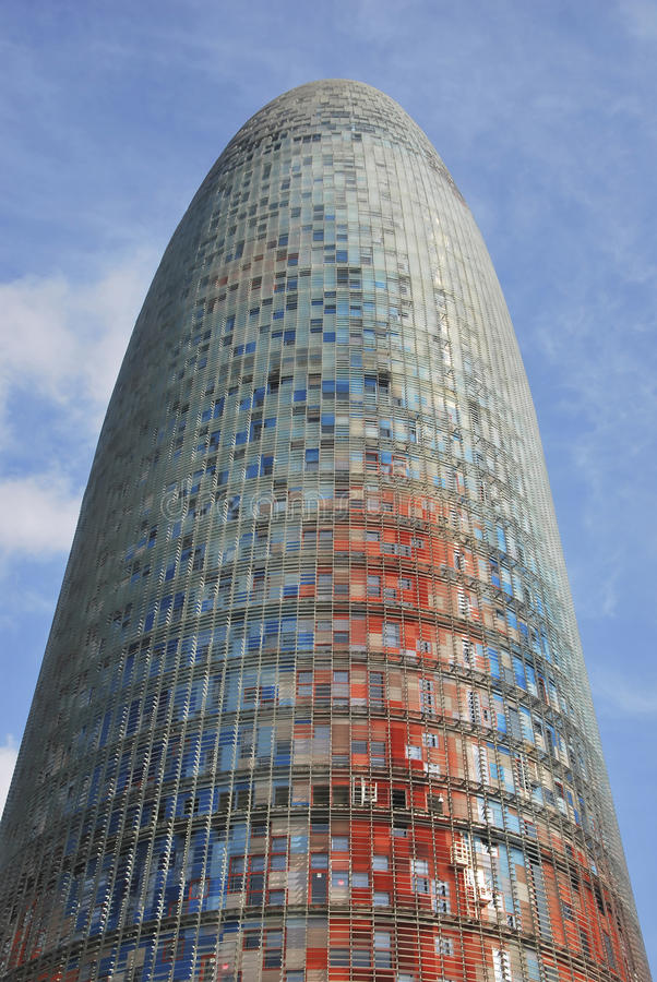 Agbar tower. Phallic shaped modern building in the financial district of Barcelona. Catalunya. Spain royalty free stock image