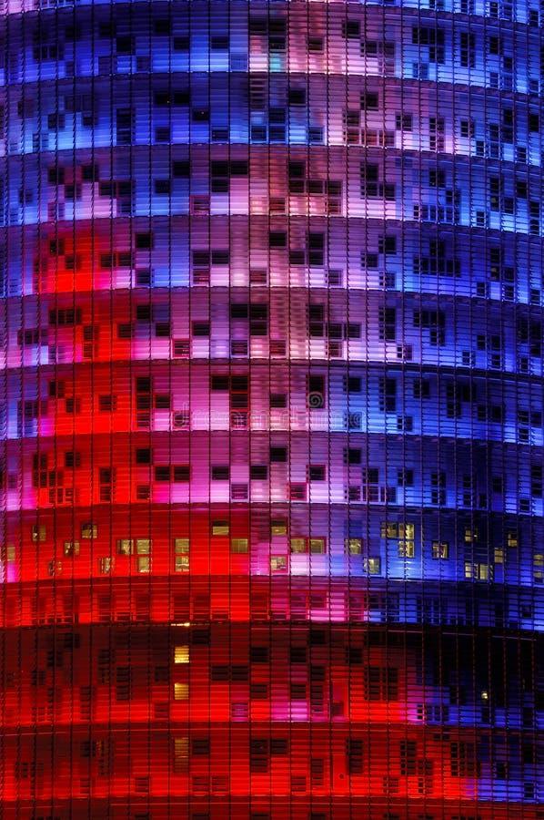 Agbar tower, Barcelona. Agbar tower ligth facade, Barcelona city, Catalunya community,Spain stock photos