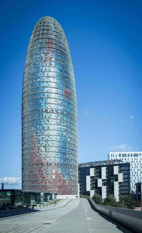 Agbar Tower at Barcelona. Skyscraper designed by Jean Nouvel royalty free stock photo
