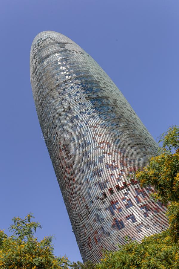Agbar Tower in Barcelona. Torre Glòries or Torre Agbar building in Barcelona, Spain stock image