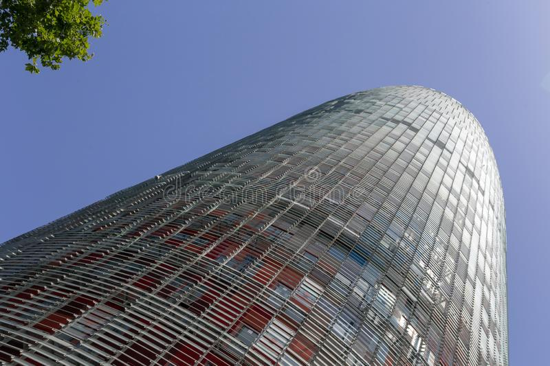 Agbar Tower in Barcelona. Torre Glòries or Torre Agbar building in Barcelona, Spain stock photos