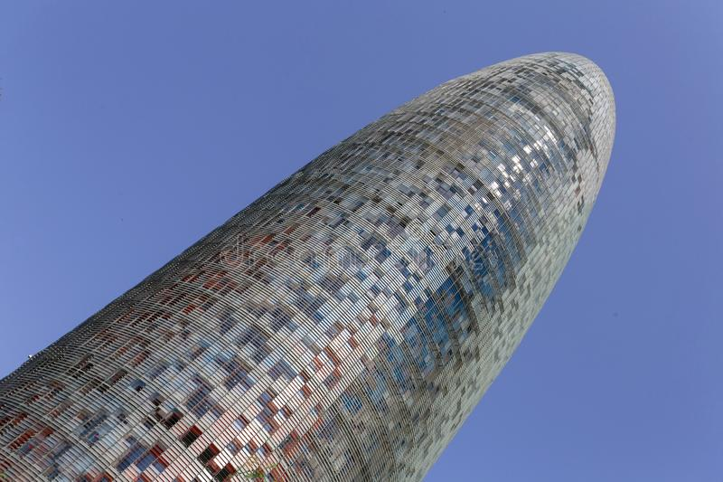 Agbar Tower in Barcelona. Torre Glòries or Torre Agbar building in Barcelona, Spain stock images
