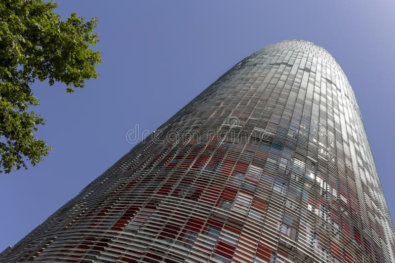 Agbar Tower in Barcelona. Torre Glòries or Torre Agbar building in Barcelona, Spain stock photo