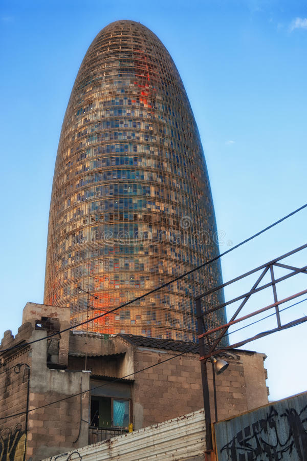 Download Agbar Tower Behind A Shanty Town In Barcelona Stock Image - Image: 22951919