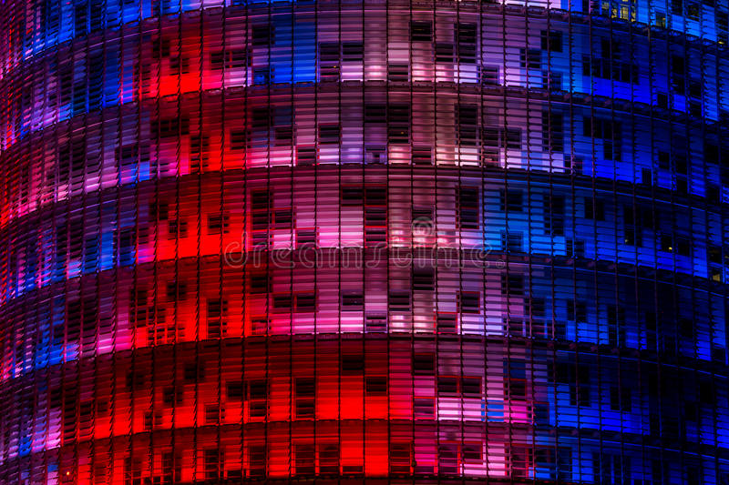 Agbar Tower. Lit up multicolored at night royalty free stock photo