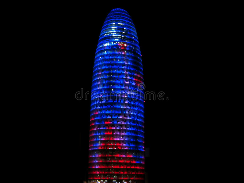 Download Agbar tower at night stock photo. Image of blue, colorful - 5407030