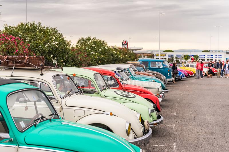 AGDE, FRANCE - SEPTEMBER 9, 2017: Group of Volkswagen Beetles exhibited during the 16th Volkswagen Meeting of Cap d`Agde. royalty free stock photography