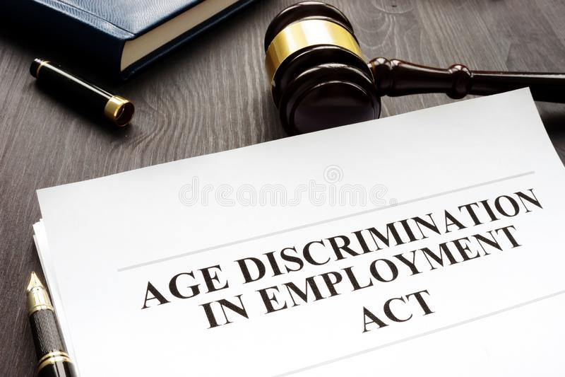 Age Discrimination in Employment Act and gavel. Age Discrimination in Employment Act and gavel in a court royalty free stock photos
