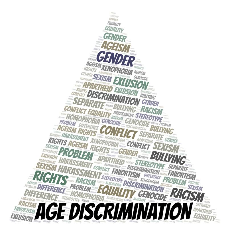 Age Discrimination - type of discrimination - word cloud. Wordcloud made with text only vector illustration