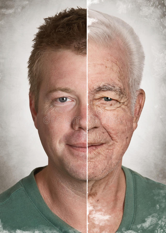 Age face concept. Young man old face life aging concept royalty free stock photo