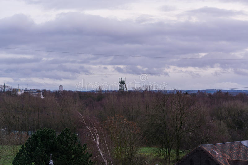 Age headframe industrial monument in the Ruhr area stock images