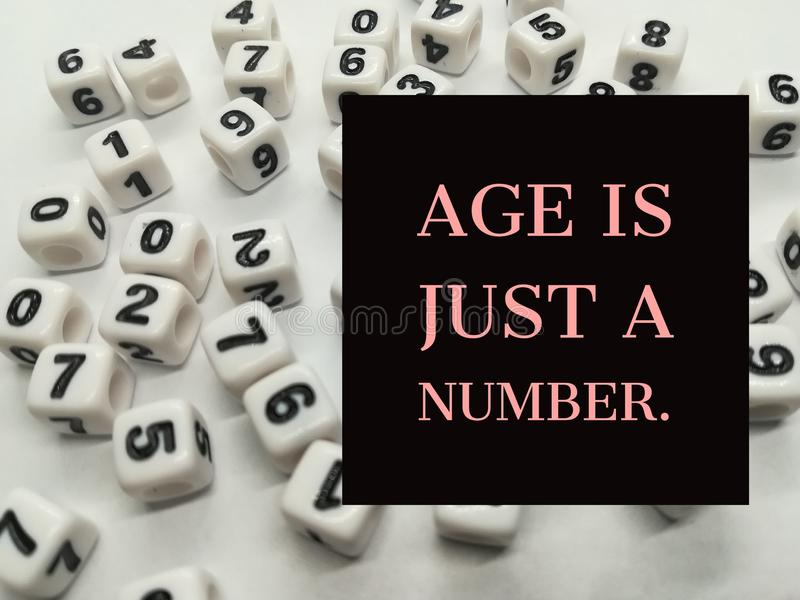 Age is just a number inspirational quote stock photo