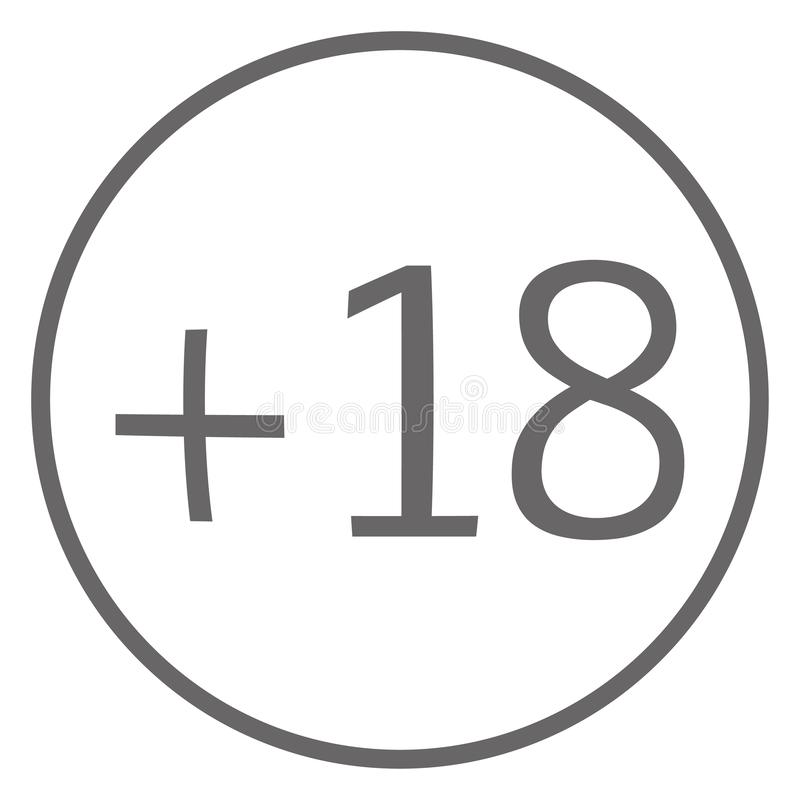 Age limit plus 18 in circle grey color icon vector eps10. age limit plus sign on white background. royalty free illustration