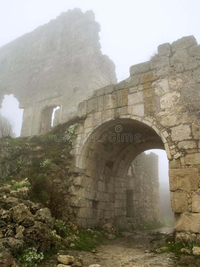 Free Age-old Stronghold Gate Arched Mist Morning Stock Image - 4852251