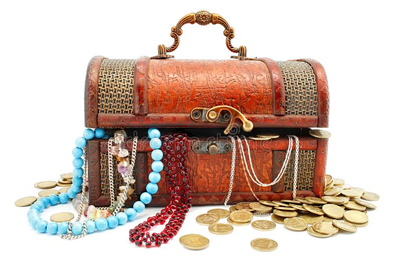 Age-old wooden trunk with treasures royalty free stock image