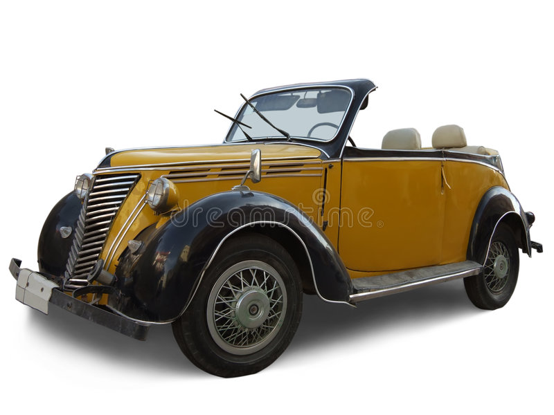 Age-old yellow car. Radiator of old yellow car. Age-old yellow car royalty free stock images