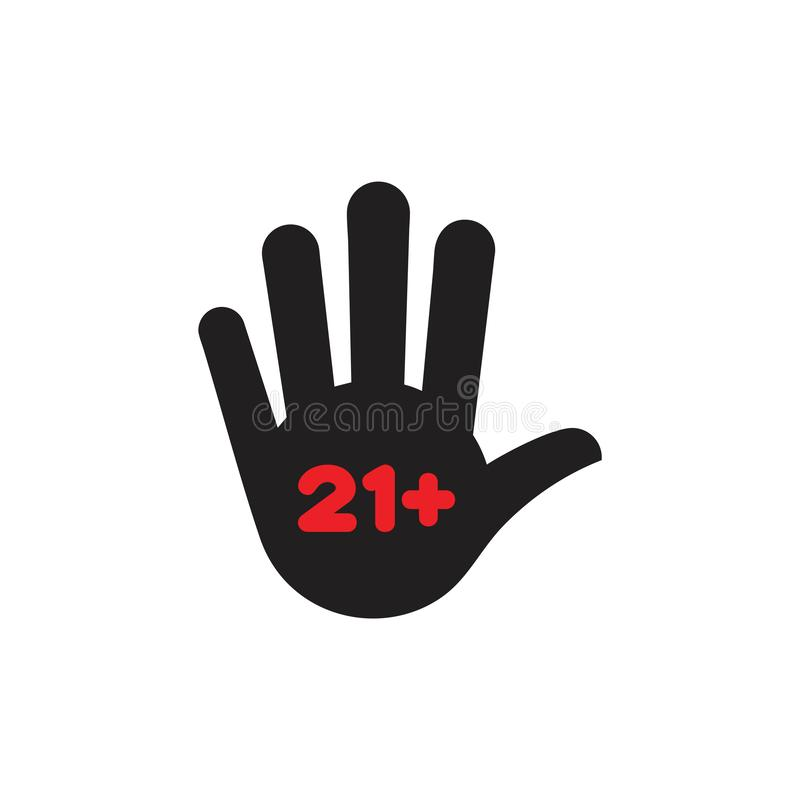 Age restricted hand palm symbol vector. Unique unusual elegant simple luxury design concept vector illustration