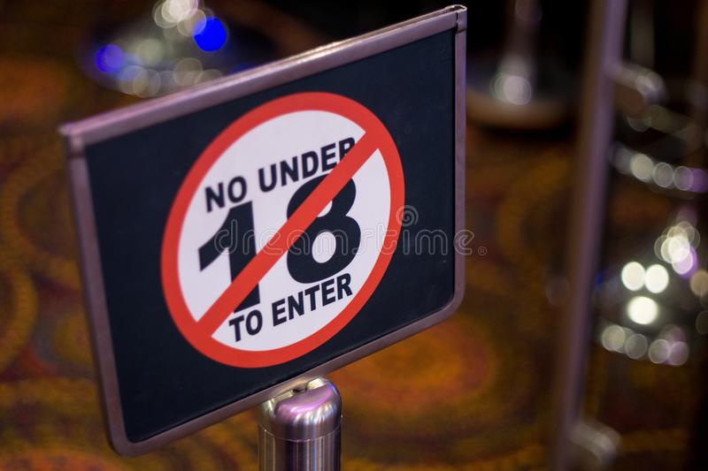 Age restriction sign stock photography