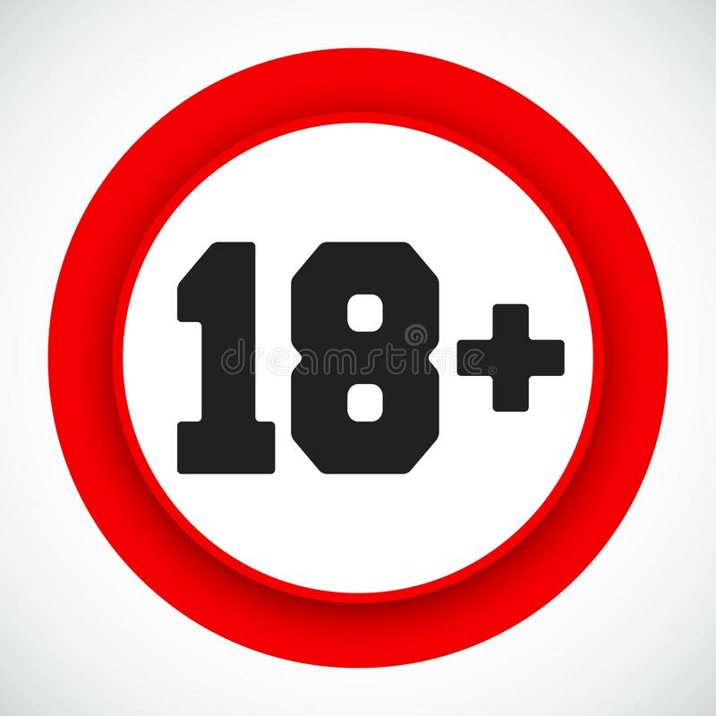 18 age restriction sign. Prohibited under eighteen years red symbol stock illustration