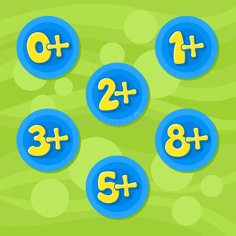 Age restrictions for toys. Vector. Age restrictions for toys. Vector circle. Numbers stock illustration