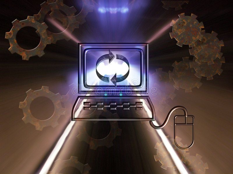 Age of technology. Conceptual image that illustrates technology age . Tunnel of light in center of computer as symbol of speed and progress in new technologies royalty free illustration